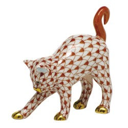 Herend arched cat rust