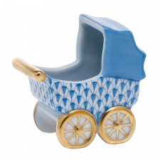 Herend Baby Carriage Blue