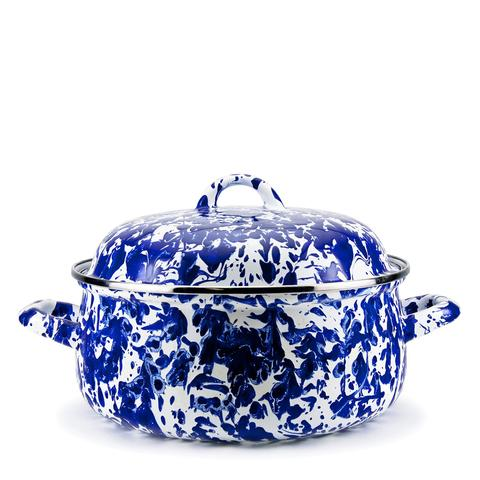 Dutch Oven Enamel Cobalt Blue 4 Quart Swirl