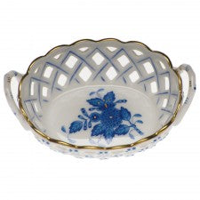 Herend small openwork basket with handles blue