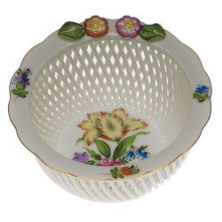 Herend openwork basket with flowers printemps