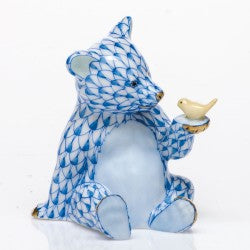 Herend Figurines Bear With Bird Blue
