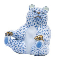 Herend Figurines Playing Footsie Bear Blue