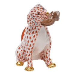 Herend Figurines Bella  Dog With Shoe Rust