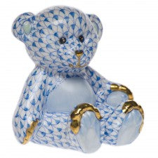 Herend small teddy bear blue