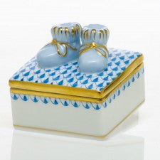 Herend baby bootie box blue