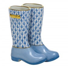 Herend pair of rain boots blue