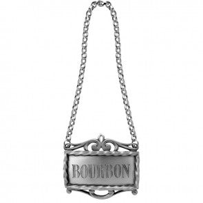 Decanter label bourbon pewter