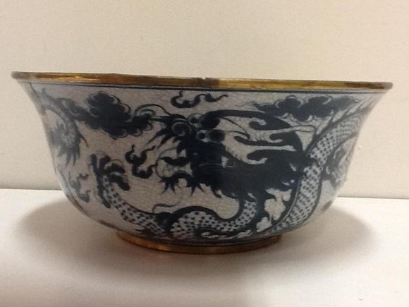 Porcelain blue and white bowl with gragon