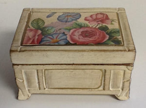 Italian Hand Painted Ceramic Box With Flowers