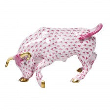 Herend charging bull pink