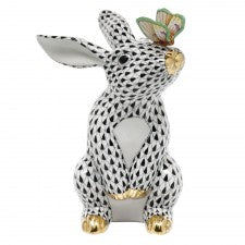 Herend bunny with butterfly black