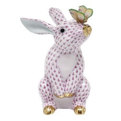 Herend bunny with butterfly pink