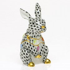Herend Bunny With Christmas Lights Black