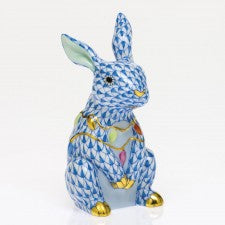 Herend Bunny With Christmas Lights Blue