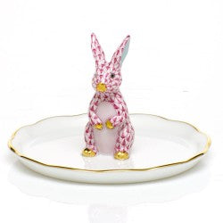 Herend Bunny Ring Holder Pink