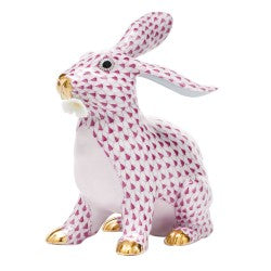 Herend bunny with daisy pink