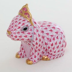 Herend bunny with tiara pink