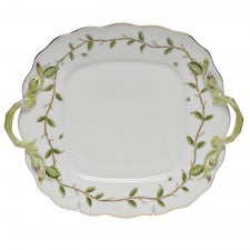 Herend rothschild garden square cake plate with handles