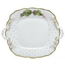 Herend winter shimmer square cake plate with handles