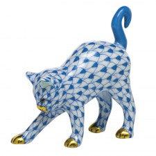 Herend arched cat blue