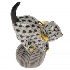 Herend mischievous cat black