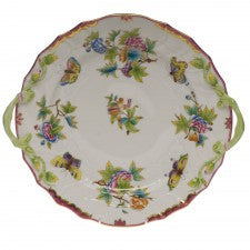Herend queen victoria pink chopt plate with handles