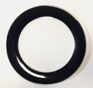 Pickard color sheen ultra white black & platinum dinner plate
