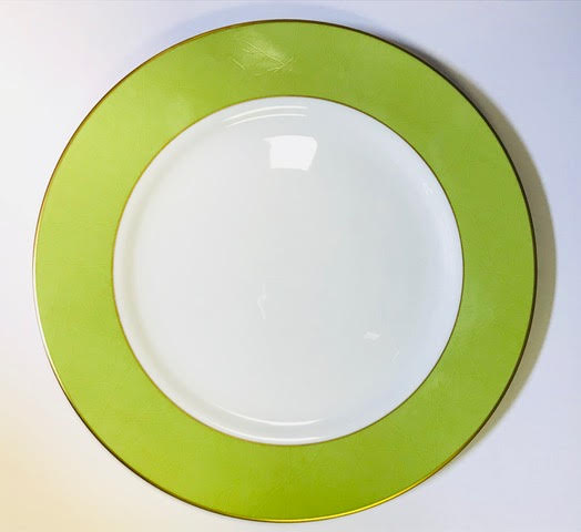 Pickard color sheen dinner plate green & gold