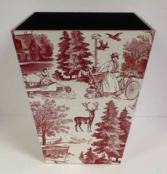 Wooden Waste Bin Country Harvest Red