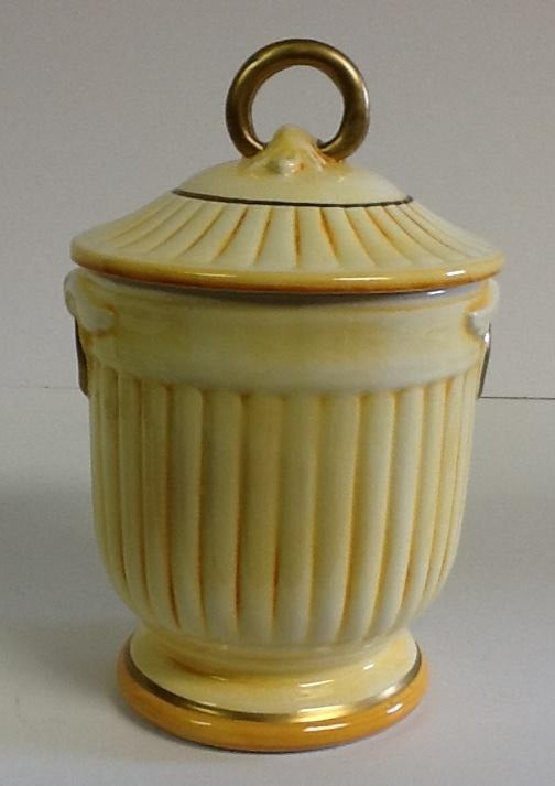 Italian Hand Crafted Ceramic Covered Jar  Yellow
