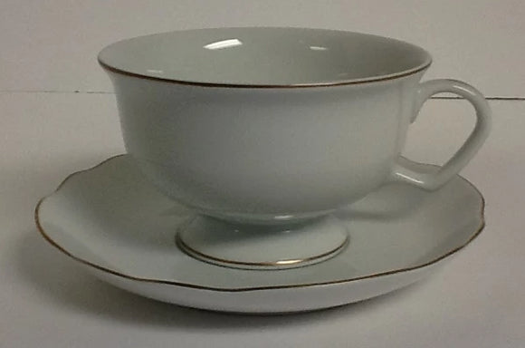 Pickard China Georgian ultra white & gold cup & saucer