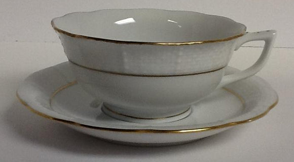 Herend china golden edge tea cup & tea saucer