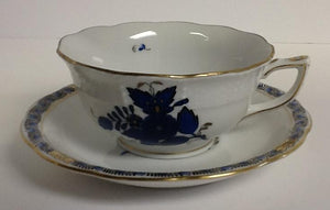 Herend Chinese Bouquet Black Sapphire Tea Cup & Saucer