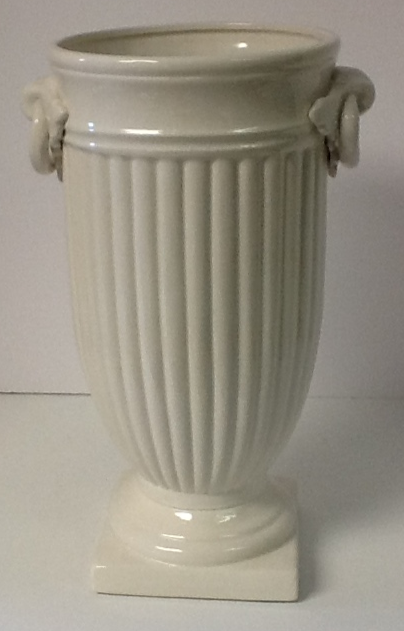Italian Ceramic Vase White Square Base
