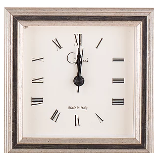 Italian Wood clock silver with black channel