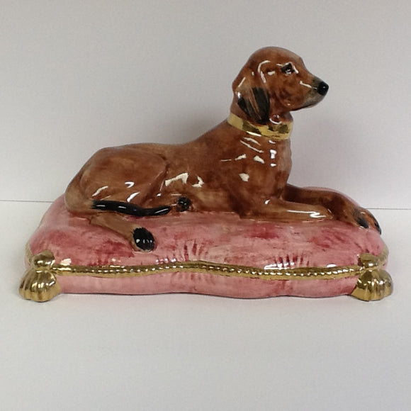 Dog On Pillow Italian Hand Painted