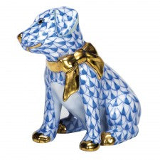 Herend Figurines Doggie Dazzle Blue