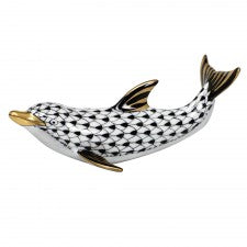 Herend playful dolphin black