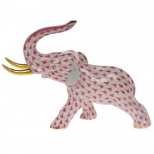 Herend elephant with tusks raspberry