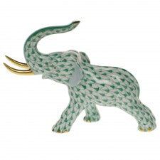 Herend elephant with tusks green