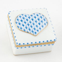 Herend Embossed Heart Box Blue