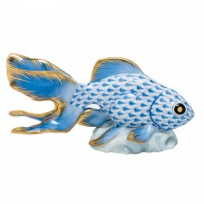 Herend fantail goldfish blue