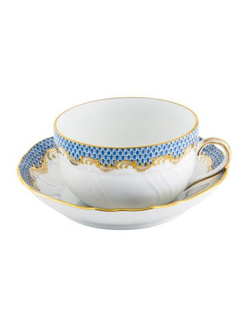 Herend Fish Scales Blue Canton Cup and Saucer