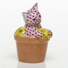 Herend Flower Pot Kitty Pink