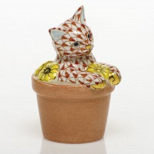 Herend Flower Pot Kitty Rust