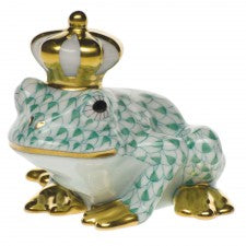 Herend Figurines Frog Prince Green