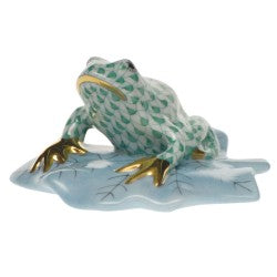 Herend frog on lily pad green