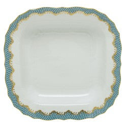 Herend Fish Scale Turquoise Square Fruit Dish