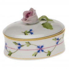 Herend blue garland oval box with rose